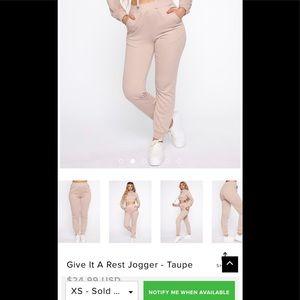 Fashion Nova Give It A Rest Jogger - Taupe